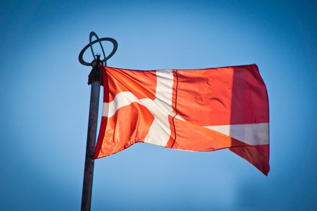 flag of denmark on background of sky