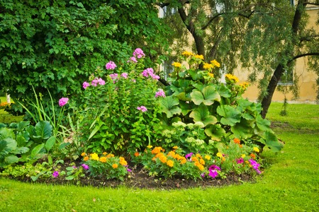 seasonally: flower bed in park next to the building wall