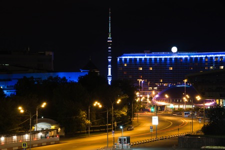 view of the television tower at summer night