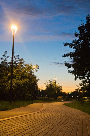walking trail in the evening park in summer