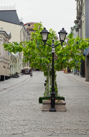 deserted street in the morning in the city Stock Photo