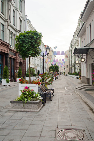 deserted street in the summer in the city