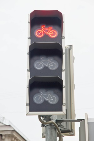 the traffic lights: traffic lights prohibiting the movement for bicycles