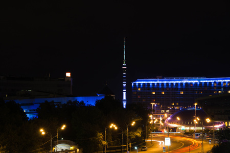 view of television tower at summer night