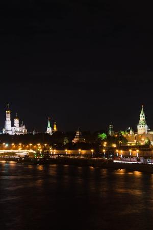 church and towers of Kremlin at night