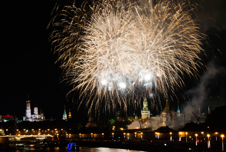fireworks at night in the city center over the Kremlin