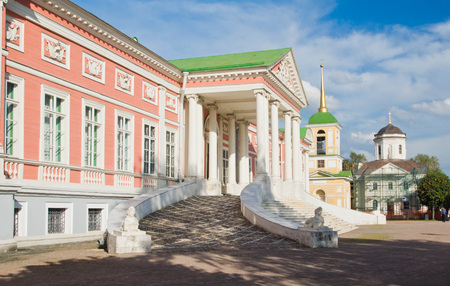 facade of historic palace in summer park