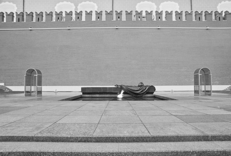 Eternal Flame at Kremlin wall in Moscow black and white Editorial