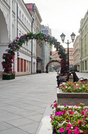 empty pedestrian street in the city at summer