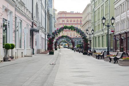 empty pedestrian street in city at summer
