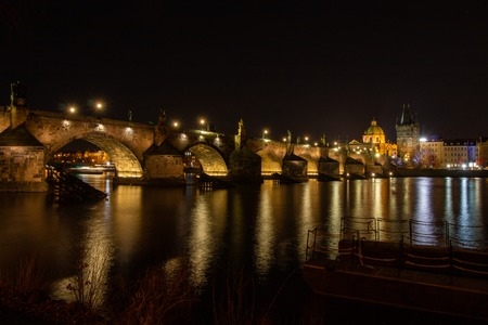 Night view on the Charles bridge in Prague