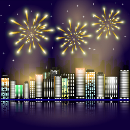 victory symbol: Firework in the city.Firework in the night sky in the town. Stars in the night sky lighting with firework. Vector illustration. Abstract background with buildings, firework, stars. Victory symbol.