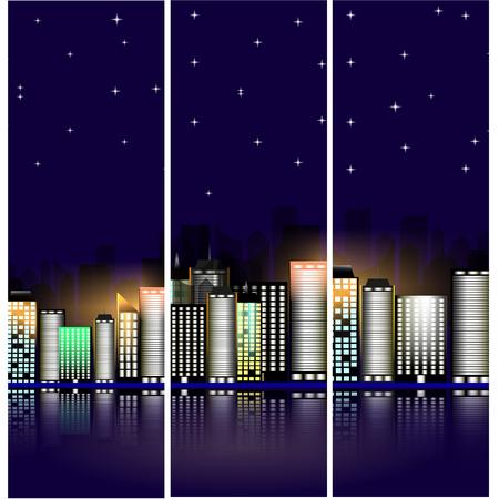 night: illustration. Night cityscape.