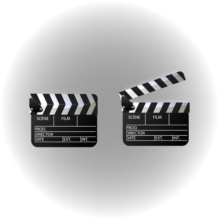 movie clapper: Movie clapper board set. Isolated movie clapper with text. illustration.