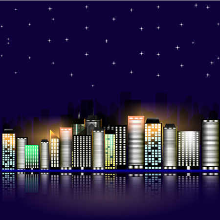 dark city: Night city with stars. Night sky in the town. Illustration. Abstract background with buildings and stars. Illustration