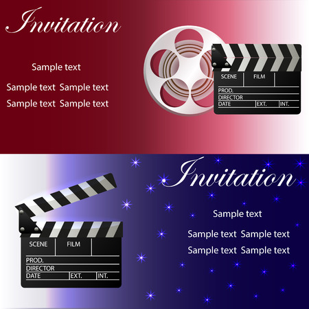 corne: Movie concept template with movie clapper, movie reel. Two variants of invitation .