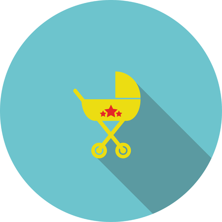 children icon Yellow baby carriage