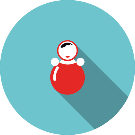 wobbly: children icon red toy roly poly Illustration