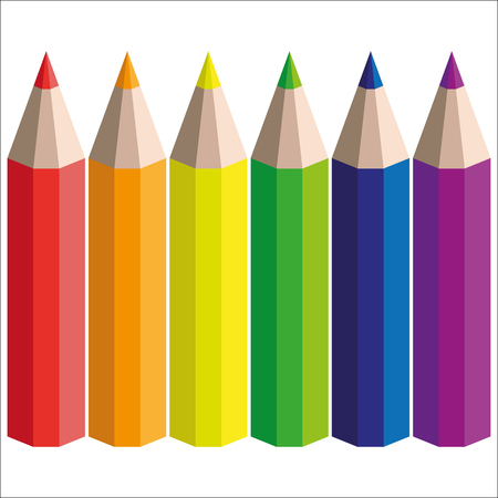 vector six rainbow pencils on a white background