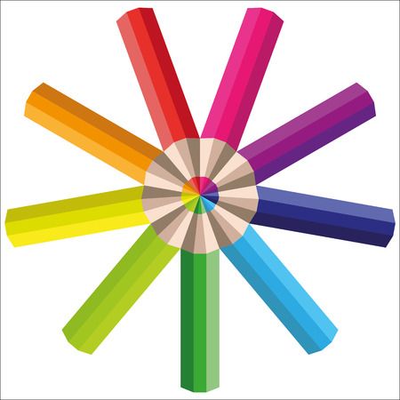 Vector rainbow multicolored pencils for your design