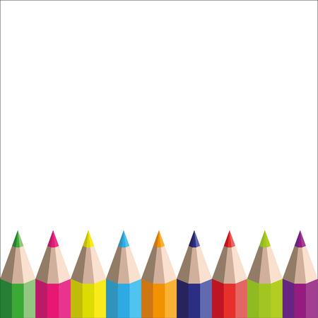 vector rainbow pencils on a white background Ilustração