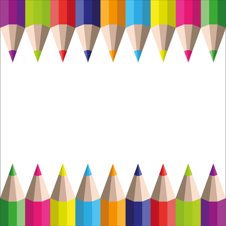 variegated: vector rainbow pencils on a white background Illustration