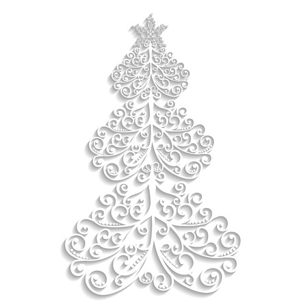 vector lace tree of the flourishes with a star on white background Ilustração