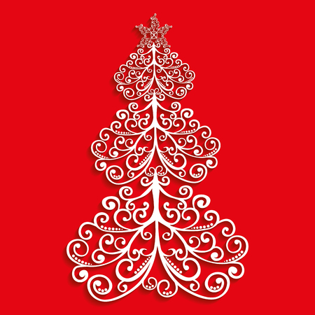 vector lace tree of the flourishes with a star on red background Ilustração