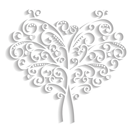 curl tree in the form of heart