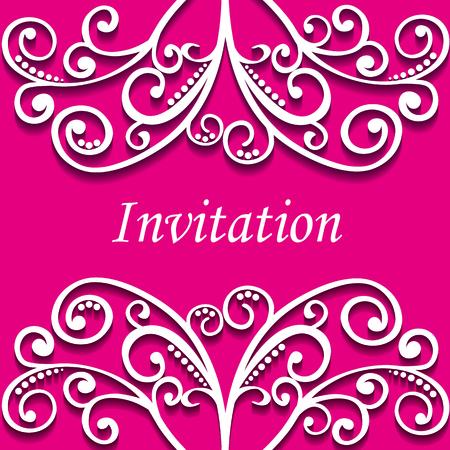 vector illustration lacy curls heart invitation card