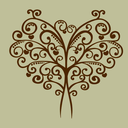 vector lacy tree in the form of heart