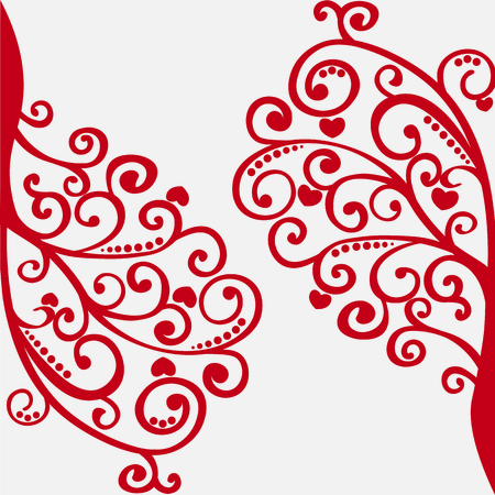 vector lacy red tree for your design