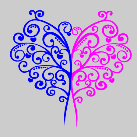 vector lacy tree- heart blue and pink
