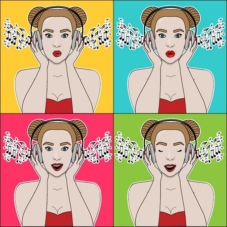 Vector image of the girl in the big headphones listening Ilustração