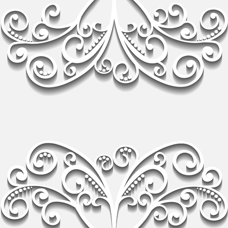 vector illustration lacy curls heart, card for your design