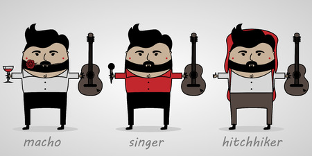 vector illustration cartoon man with beard and guitar Ilustração