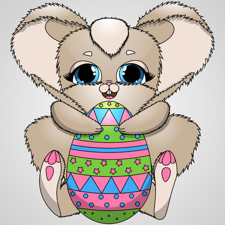 vector illustration Easter bunny and colorful eggs
