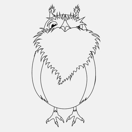 vector black and white coloring cartoon bird Owl