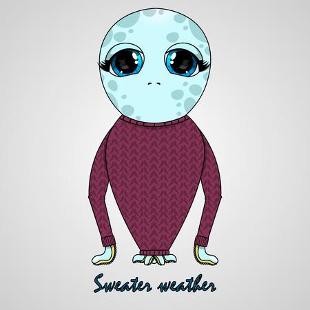 vector illustration children octopus in sweater