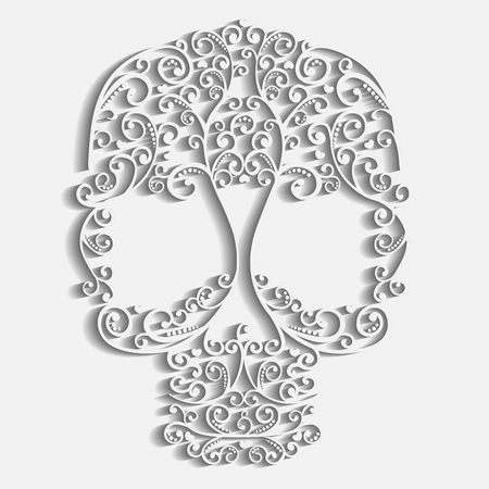 Lacy skull with curls and hearts, paper texture. Ilustração
