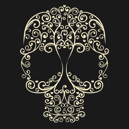 vector vintage drawing skull with curls and hearts