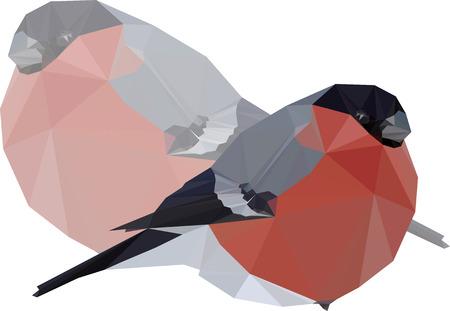 Low-poly vector illustration Winter bird bullfinch