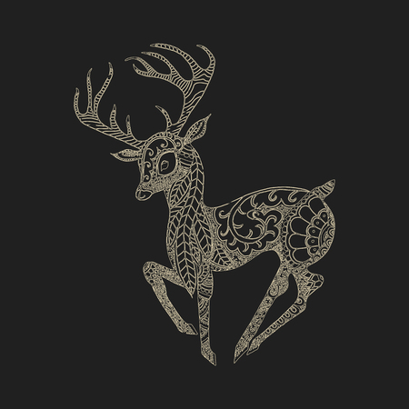 vector illustration of the deer patterns and flowers in the Indian style