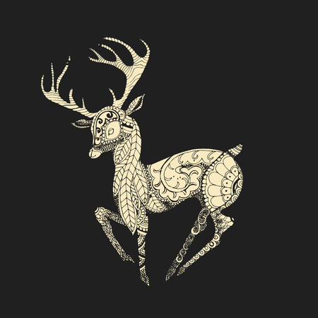 Vintage isolated vector illustration of a deer in the Indian style