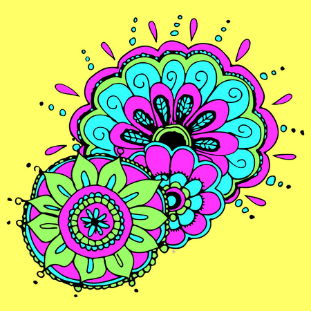 vector hand-drawn pattern and flowers in the Indian style