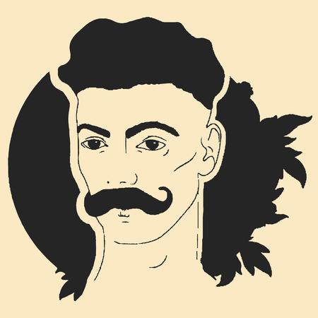 Vintage illustration of a mans face with a mustache Ilustração