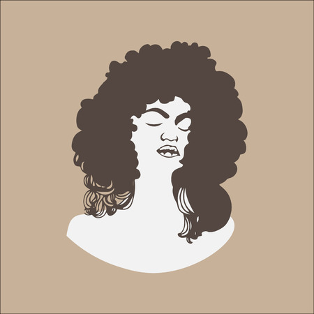 Vector illustration of a woman with closed eyes and fluffy hair