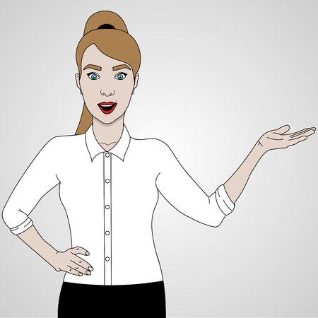 vector illustration of girl shows and smiling in shirt and skirt