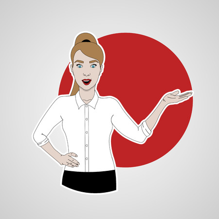 vector illustration of girl shows and smiling in shirt and skirt on a background of red circle