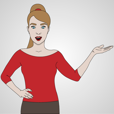 vector illustration of girl shows and smiling to the right side